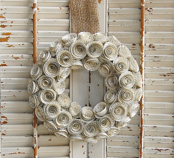 Paper Book Wreath