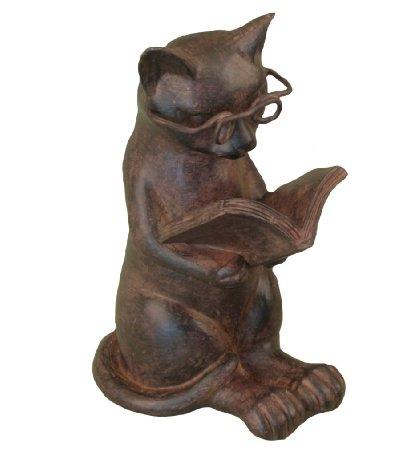 Reading Cat Figurine